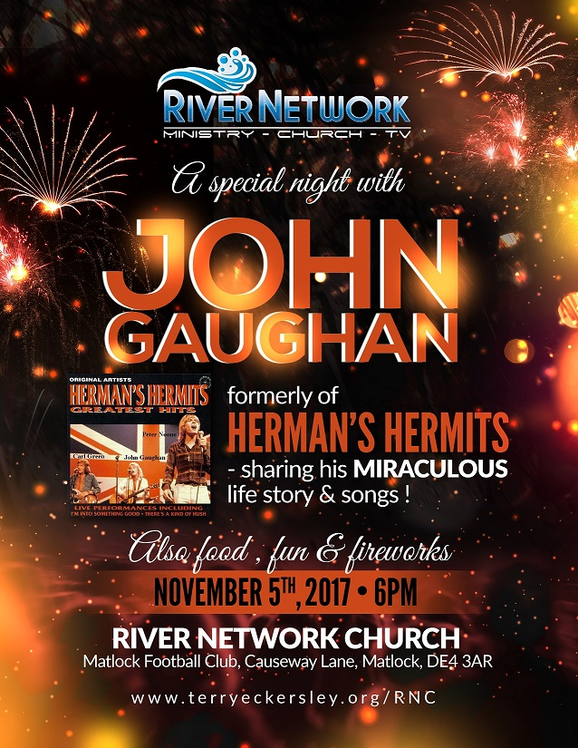 A Single Night with JOHN GAUGHAN @ RIVER NETWORK CHURCH Matlock Football Club, Causeway Lane, Matlock, DE4 3AR